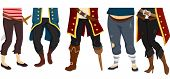 picture of pirate girl  - Cropped Illustration Featuring the Feet of a Pirate Crew - JPG