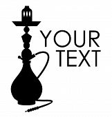 picture of peace-pipe  - Hookah silhouette with sample text - JPG