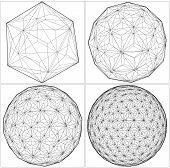 stock photo of tetrahedron  - From Icosahedron To The Ball Sphere Lines Isolated Illustration Vector - JPG