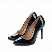 pic of fetish clothes  - pair of black high heels women classic shoes isolated on white background - JPG