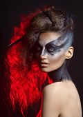picture of gothic girl  - fashion crow girl with white eyes - JPG