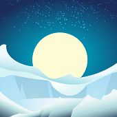 picture of arctic landscape  - A vector illustration of arctic glacier landscape against full moon in the sky - JPG