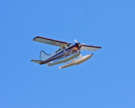 stock photo of float-plane  - Float plane flying on a sunny day with blue sky - JPG
