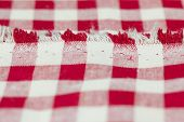 foto of tartan plaid  - Closeup of Texture red tartan plaid textile fabric for background