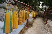 picture of lineup  - lineup group of monastic bells at the temple - JPG