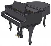 pic of grand piano  - Hand drawing of a classic black grand piano - JPG