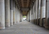 picture of balustrade  - Balustrade or colonnade line of marble columns with center endpoint - JPG