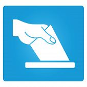 foto of voting  - vote symbol in blue square button - JPG