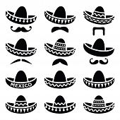 picture of sombrero  - Vector black icons set of Sombrero isolated on white - JPG