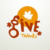 pic of give thanks  - Thanksgiving Day concept with stylish text Give Thanks and maple leaf on grey background - JPG