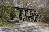 image of trestle bridge  - Old Railroad Trestle At Ozone Falls In Tennessee - JPG
