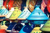 stock photo of tagine  - Tajines in the market Marrakesh Morocco Afrika - JPG