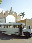 Old Bus Front Arch In Merida City In Mexico