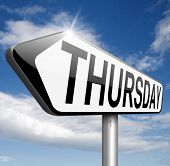 stock photo of thursday  - thursday next day calendar concept for appointment program or event   - JPG