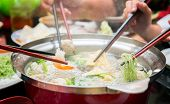 picture of wagyu  - Party family with hot sukiyaki in restarant - JPG