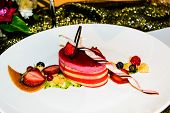 stock photo of pastry chef  - cake strawberry decoration in modern frence cuisine by pastry chef - JPG