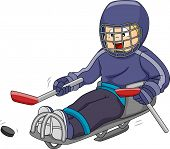 stock photo of paralympics  - Illustration Featuring a Sledge Hockey Player Moving the Puck Across the Ice - JPG
