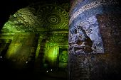 stock photo of ellora  - Ancient cave temple in Ellora India - JPG