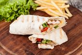 foto of sandwich wrap  - Chicken fajita wrap sandwich - JPG