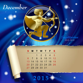 pic of sagittarius  - Simple monthly page of 2015 Calendar with gold zodiacal sign against the blue star space background - JPG