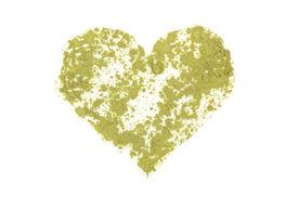 picture of chlorella  - Chlorella spirulina and wheat grass ground powder forming heart shape - JPG