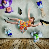 picture of shoes colorful  - Collage with girl flying around the room - JPG
