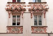 picture of building relief  - Ornate windows in Old Town buildings, Innsbruck, Austria, Tyrol ** Note: Soft Focus at 100%, best at smaller sizes - JPG