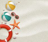 stock photo of balls  - Summer Holidays Blank Background in the White Beach Sand with Ball - JPG