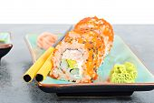 stock photo of masago  - California maki sushi with masago on the table - JPG