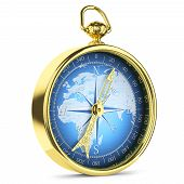 stock photo of longitude  - Antique golden compass with blue world map inside - JPG