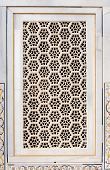 stock photo of khas  - Architectural detail of a window in Agra Fort in Agra Uttar Pradesh India - JPG