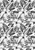 stock photo of bird paradise  - Monochrome black and white tropic floral seamless pattern with hibiscus bird of paradise palm and monstera leaves - JPG