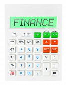 picture of subtraction  - Calculator with FINANCE on display on white background - JPG