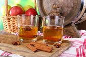 stock photo of cider apples  - Still life with tasty apple cider and fresh apples - JPG