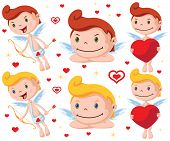 stock photo of cupid  - Set of cartoon vector cupids with bow - JPG