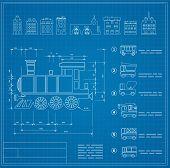 stock photo of locomotive  - Technical vector drawings locomotive for locomotive engineers - JPG