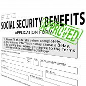 stock photo of social-security  - Social security application form with green approved rubber stamp - JPG