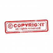 foto of plagiarism  - Copyright all rights reserved red stamp isolated on white background - JPG