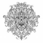 image of african lion  - Tattoo graphics head of a lion with a mane of black and white graphics on a white background with floral ornaments - JPG
