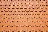 stock photo of red roof tile  - Close up of red roof tiles background - JPG