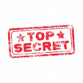 stock photo of top-secret  - Top secret red stamp isolated on white background - JPG