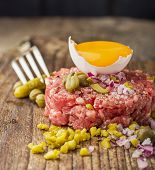 pic of tartar  - Close up of beef tartar with capers gherkins - JPG