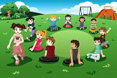 picture of duck  - A vector illustration of happy kids playing duck duck goose in a park - JPG