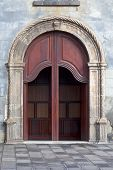 image of senora  - Wooden door of Nuestra Senora de la Pena de Francia Cuhrch in Puerto de la Cruz Tenerife Canary Islands Spain - JPG