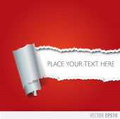 stock photo of cut torn paper  - Red paper torn in the middle with a white background - JPG