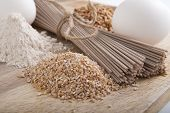 picture of buckwheat  - Products Made From Buckwheat. Products made from buckwheat. Studio photography. - JPG