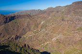 pic of curvy  - Masca village from above with scenic curvy road Tenerife Spain - JPG