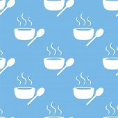 stock photo of lunch  - Lunch time blue with white seamless pattern for web design - JPG