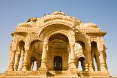 foto of rajasthani  - A decorated cenotaph in the site of Bada Bagh near Jaisalmer in Rajasthan India - JPG