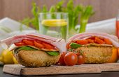 foto of smoked ham  - Wholemeal roll with smoked cheese cherry tomatoes and prague ham - JPG